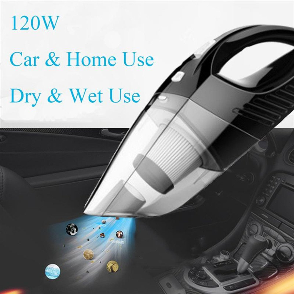 Black Wet Dry Portable Handheld Auto Vacuum Cleaner Kit with 5 Meter Power Cord CLKjdz Car Vacuum Cleaner with Heap Filter 4000PA Strong Suction Easy to Clean Car Pet Hair