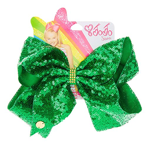 Dance Costumes Gold Coast (JoJo Siwa Large Green Sequin St Patricks Day Signature Hair Bow Dance Hair Bow Cheerleader Bow)