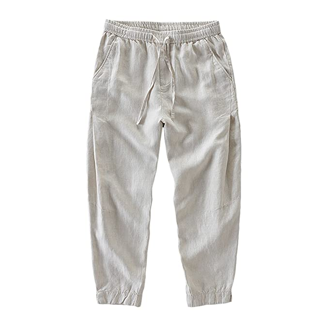 3835ef5e174f8 Helisopus Men's Relaxed-Fit Linen Pant Mid Waist Loose Casual Solid  Trousers with Drawstring
