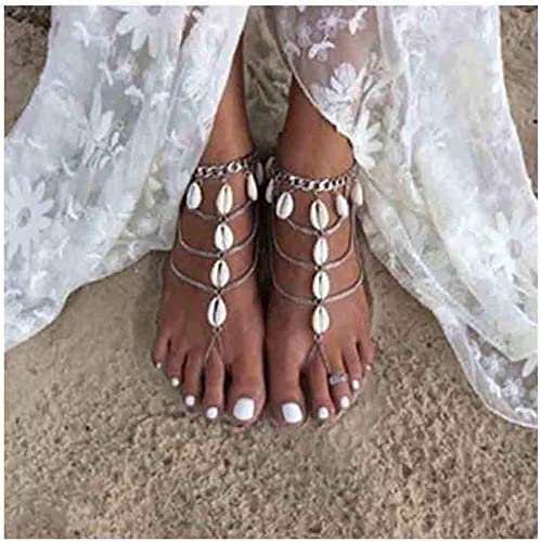 Fashion White Pearl Barefoot Sandal Bridal Beach Anklet Toe Ring Foot Jewelry