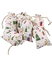 CCINEE Christmas Bags Colored Burlap Candy Bag for The Holiday Assorted Styles-12