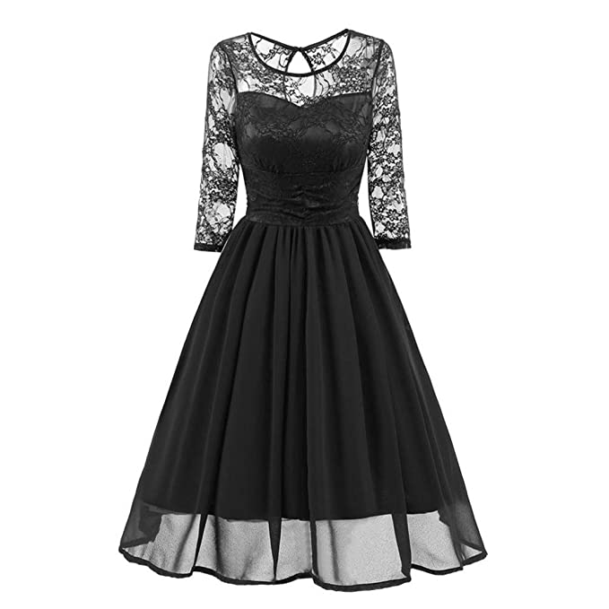 d58348416691 Vintage Lace Evening Party Dresses for Women,Moonuy Ladies Girl Trench  NewestFormal Patchwork Wedding Swing Dress Fashion Casual Skirt Work Three  Quarter ...