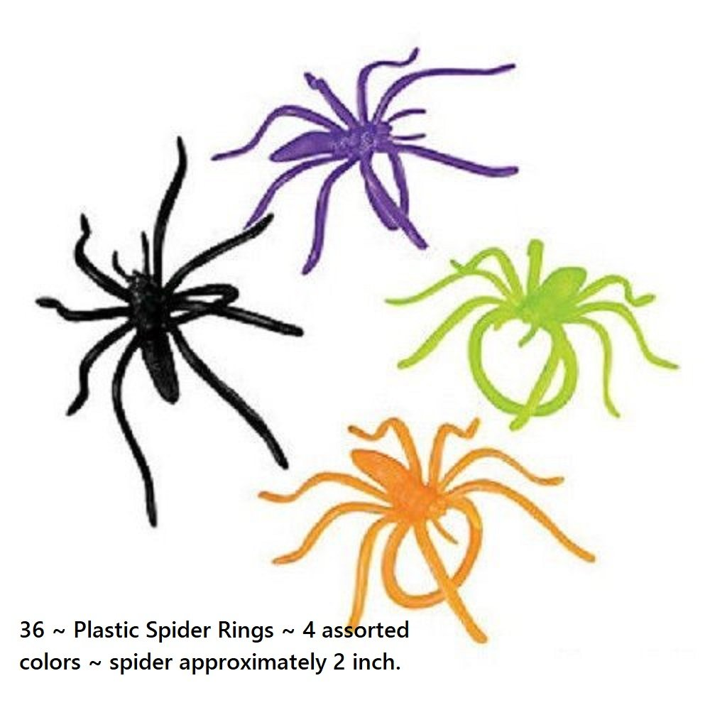 36 ~ Spider Rings ~ Assorted Colors ~ Plastic ~ New