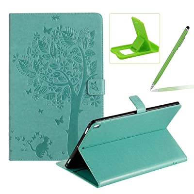 Flip Case for iPad 10.2 2020,Smart Leather Cover for iPad 7th Generation,Herzzer Retro Pretty Tree Butterfly Cat Design Wallet Folio Case for iPad 10.2 Inch 2020(7th Gen)+Stand+Stylus Pen,Green: Musical Instruments