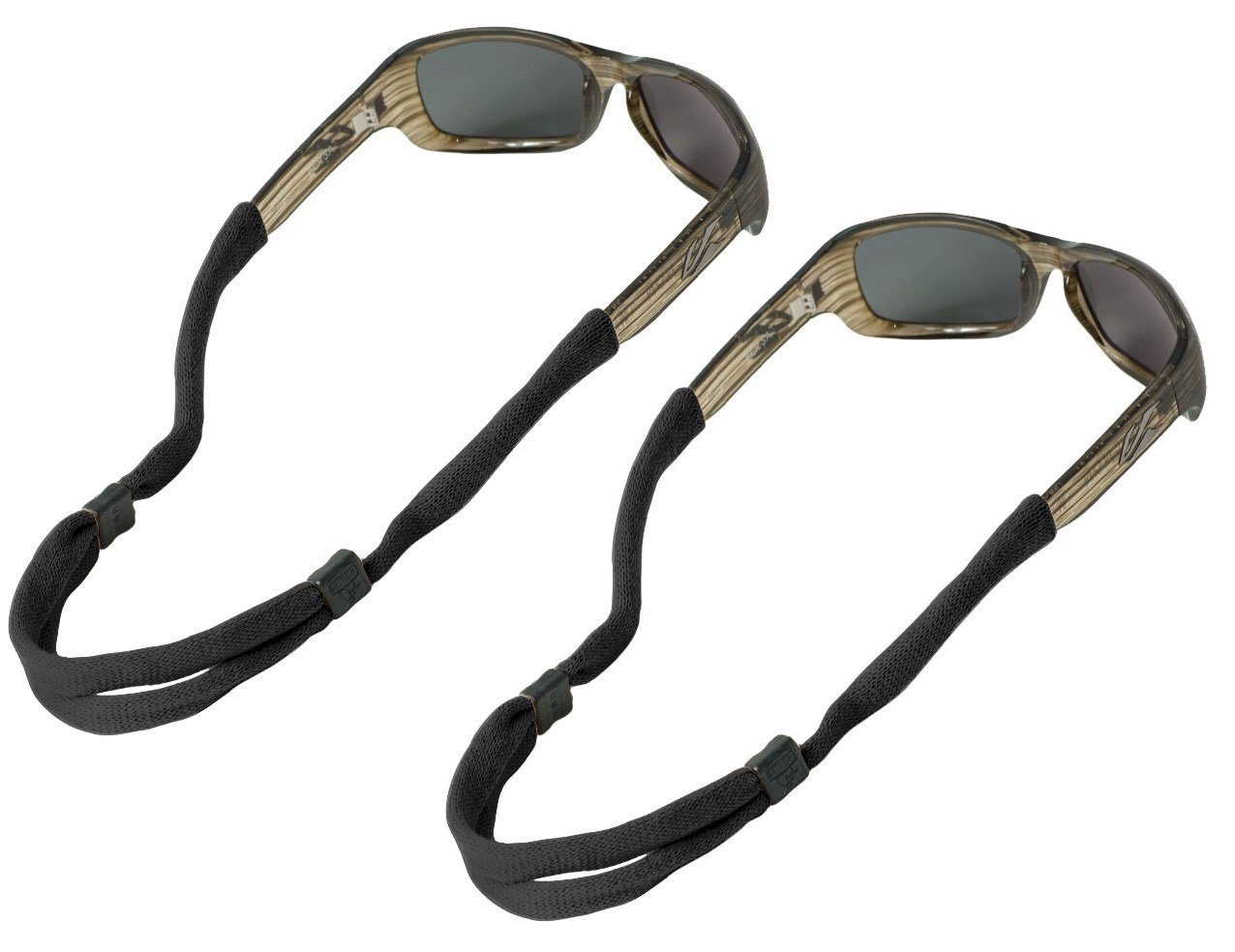 Chums No Tail Adjustable Cotton Eyeglass and Sunglass Retainer / Strap, Black (2 Pack)