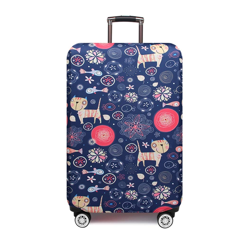 LDIW Suitcase Protective Cover Elastic Polyester Spandex Fabric Travel Suitcase Protector Fits 18-32 Inch Luggage,Cat,M