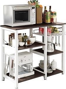 DlandHome Microwave 3-Tier+3-Tier Cart Stand 35.4 inches Kitchen Utility Storage for Baker's Rack & Spice Rack Organizer Workstation Shelf Maple, W5S-BK