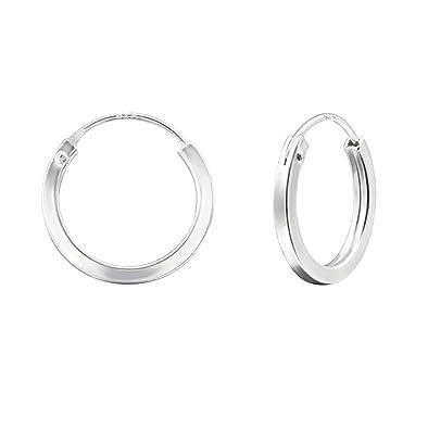 14mm Sterling Silver Small Plain Hinged Hoop Earrings Cwgig