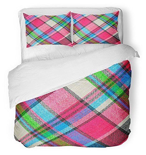 Emvency Bedsure Duvet Cover Set Closure Printed Pink Plaid Colorful Checkered Loincloth Red Chess Color Asia Thai Abstract Asian Decorative Breathable Bedding Set With 2 Pillow Shams Twin Size by Emvency