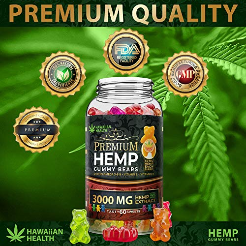 Natural Hemp Gummies 3000MG - 50MG Per Fruity Gummy Bear with Full Spectrum Hemp Extract   Natural Candy Supplements for Pain, Anxiety, Stress & Inflammation Relief   Promotes Sleep & Calm Mood by Hawaiian health (Image #5)