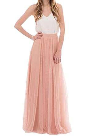 24407c1908 Future Girl Women s Blush Maxi Skirts High Waist Holiday Tulle Skirt for  Formal (Blush-