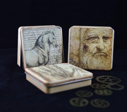Cans with sketches of Leonardo Da Vinci, jewellery box ...