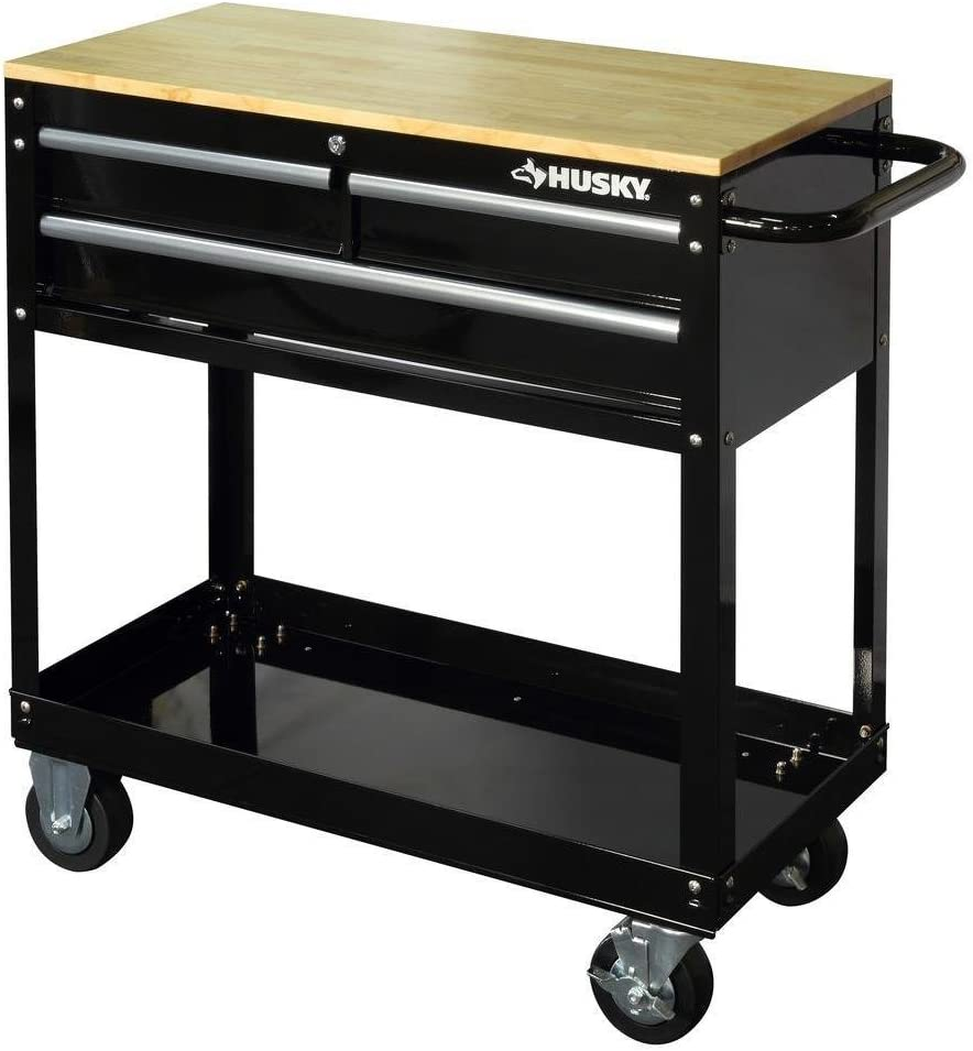 Husky HOUC3603B1QWK 36 in. 3-Drawer Rolling Tool Cart with Wood Top, Black