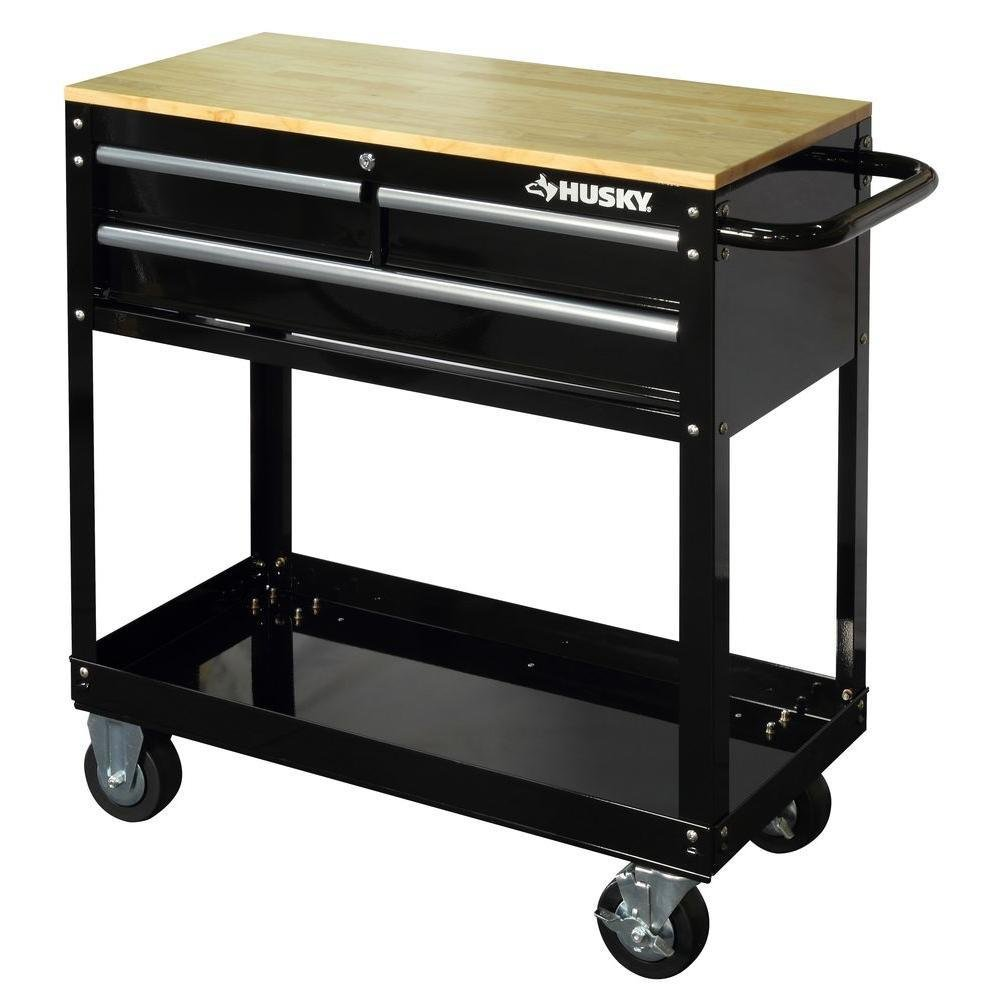 Husky HOUC3603B1QWK 36 in. 3-Drawer Rolling Tool Cart with Wood Top, Black by Husky