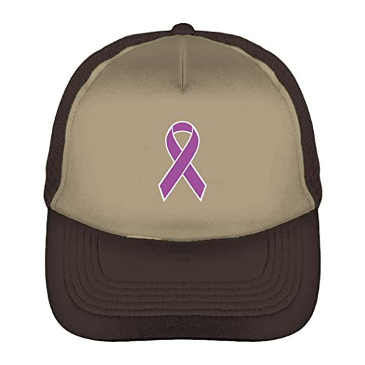 Amazon.com  Purple Awareness Ribbon Two Tone Trucker Cap (Beige ... aee116874515