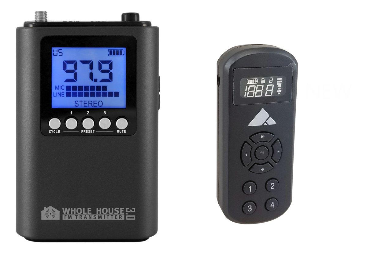 Whole House FM Transmitter 3.0 for TV, Home, Stereo w/ Mini Pocket FM Radio