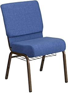 Flash Furniture HERCULES Series 21''W Church Chair in Blue Fabric with Cup Book Rack - Gold Vein Frame
