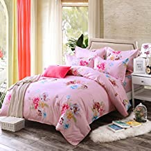 4pcs Toddler Bedding Sets hydro-cotton Duvet Cover Bed Sheet Pillowcase Twin Full Queen King Princesses Designs (Twin, Miss pink)