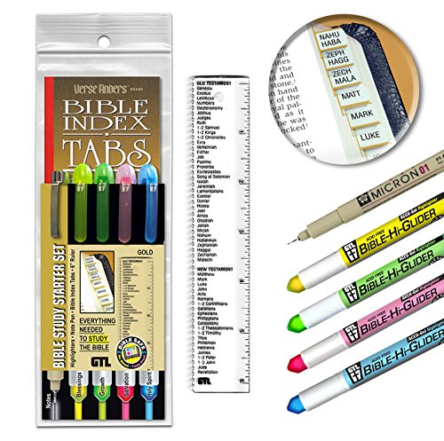 Accu-Gel & Pigma Micron Bible Study Starter Sets with Gold Verse Finder Bible (Accu Ruler)