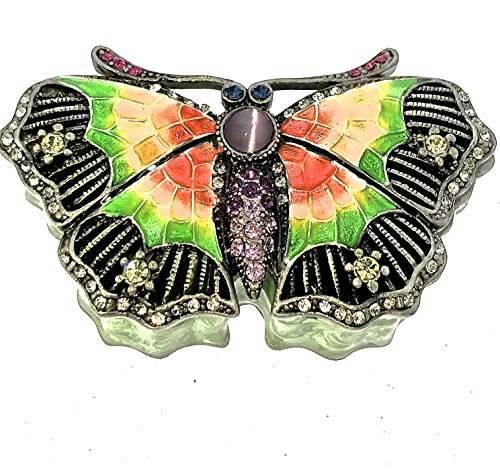 - Mini ButterflyTrinket Box Enameled Crystallized by Swarovski Crystals Green Hinged