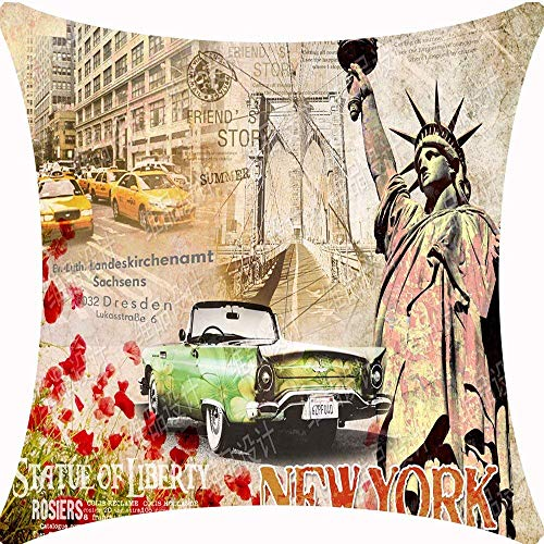 Retro Vintage Chic World Famous Buildings London Big Ben Red Poppy Flower Classic Cars Cotton Linen Decorative Throw Pillow Case Cushion Cover Square 18 x 18 inches / 45 x 45 cm ()