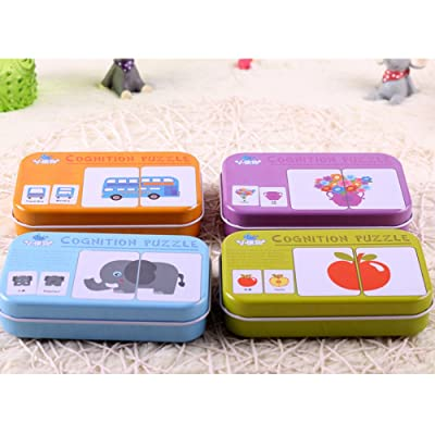 56 Pcs Packed Anti-tear Flash Card Alphabet Letter Puzzle Cognitive Card Daily Goods Animals Vehivcles Fruits Congnition Learning Skills Toy (4 Pack Fruit+Vehicle+Animal+Life Goods): Toys & Games