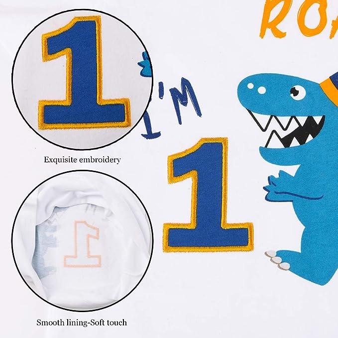 Kids I am 1 dinosaure nom t shirt Dino Premier 1st Mignon Fête D/'Anniversaire Cadeau Top