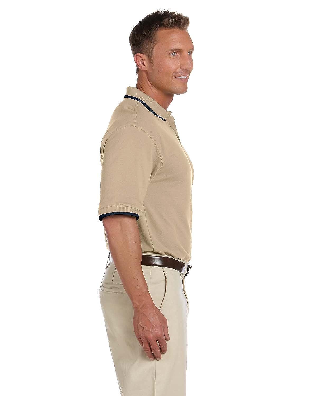 Short-Sleeve Pique Polo with Tipping STONE//NAVY XL Harriton 6 oz