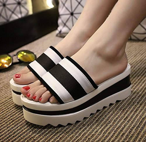 weiwei Summer Font Ladies Thick One Bottom Bottom A Cool Flat Stripe Slipper Color Slippers 1qZ1RT
