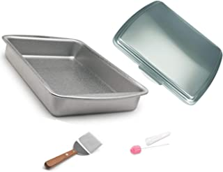 Doughmakers 9x13 inch Cake Pan Commercial Grade with Lid, Stainless-Steel Serving Spatula and Cake Tester with Cover 4 piece set bundle