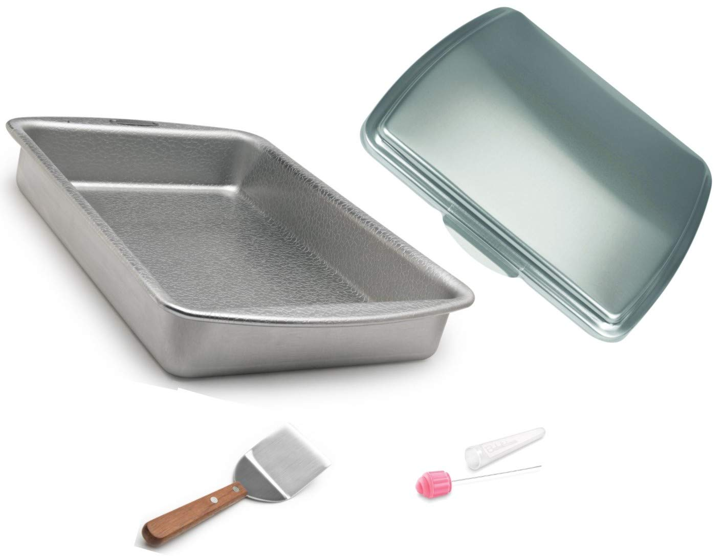 Doughmakers 9 x 13 inch Cake Pan Commercial Grade with Lid, Stainless-Steel Serving Spatula and Cake Tester with Cover 4 piece set bundle