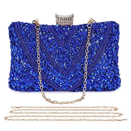 BAIGIO Bolso de Noche Plata, Clutch Mujer Fiesta Ceremonia Cartera de Mano Bolso de Embrague Strass para Boda Novia con Cadena (Azul)
