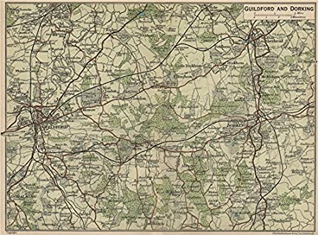 Guilford England Map.Guildford Dorking Leatherhead Surrey Hills Godalming Woking