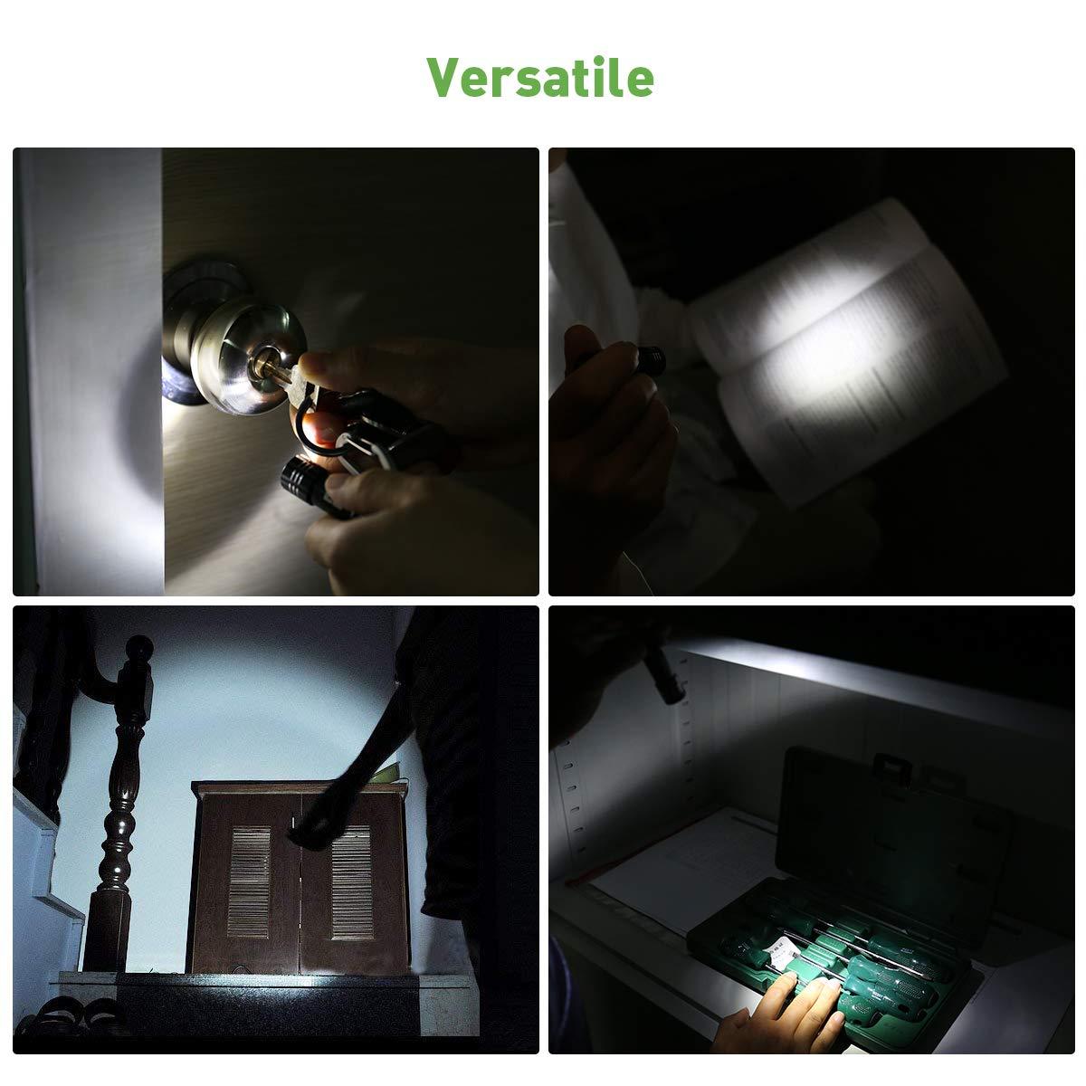LE Mini Torce Portachiave LED 5 Pezzi 5,3 cm Batterie Incluse Tascabile da Borsetta Attaccare a Zaino per Chiavi Macchina Buio