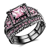 Pink Swarovski Element Crystal Black Dold Wedding Rings for Women