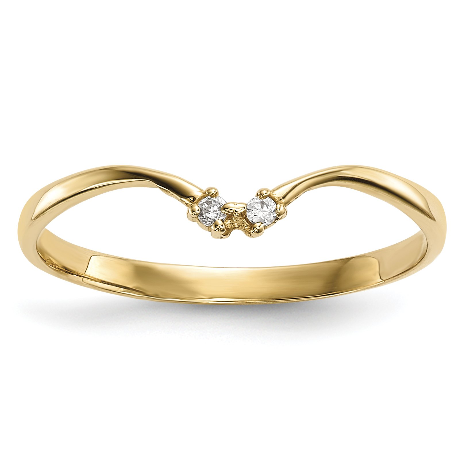 ICE CARATS 14k Yellow Gold 2 Stone Cubic Zirconia Cz Wrap Band Ring Size 7.00 Fine Jewelry Gift Set For Women Heart