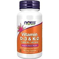 Foods Supplements Vitamin D3 K2 1000 IU45 mcg Plus Cardiovascular Support Supports Bone Health Veg Capsules, Orange, No…