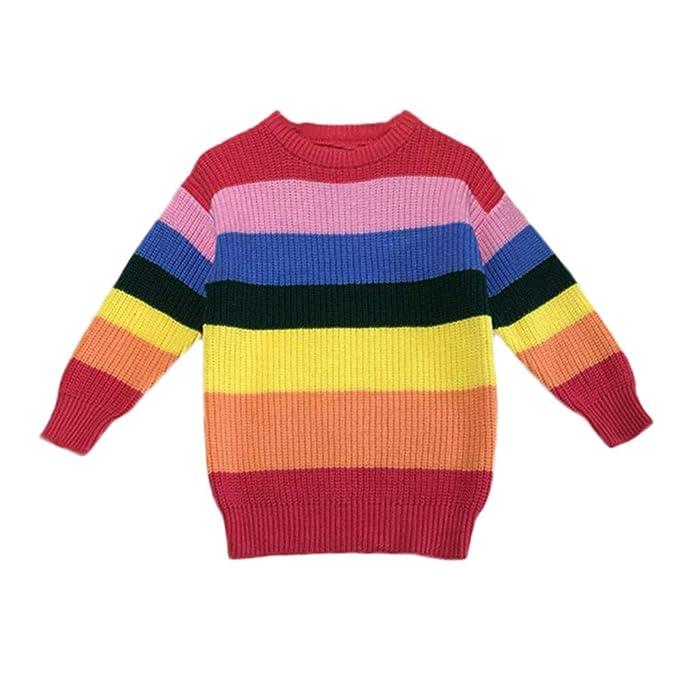 cf1958fd1 Amazon.com  iFOMO Children s Long Sleeve Knit Rainbow Striped ...