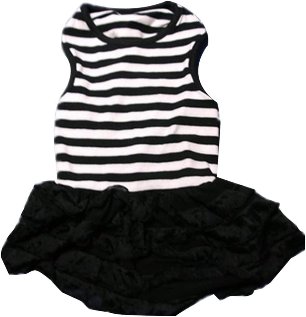 Binmer TM Cute Dog Clothes Pet Dog Costume Stripe T-Shirt Skirt Puppy Princess Dress Dog Apparel