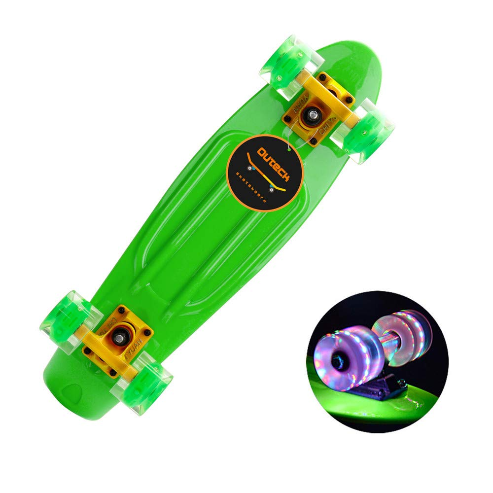 TKI-S Scooter with Flashing Wheel Fashion Skateboard and Long Board Skateboard for Adults and Children (Green, 22.05x5.91x3.74inch)