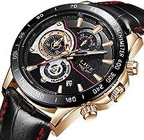 Reloj de Pulsera para Hombre, Resistente al Agua, cronógrafo, Deportivo, analógico, de Cuarzo, Reloj de Pulsera para Hombre, de Piel Negra