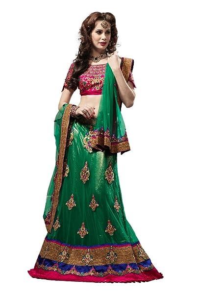 Anvi Creations Bridal Embroidered Net Lehenga Choli (Green_Free Size) Ethnic Wear at amazon