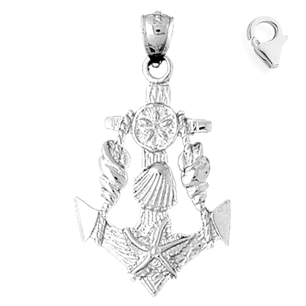 Sterling Silver 39mm Anchor With Shells with 7.5 Charm Bracelet Jewels Obsession Anchor With Shells Pendant