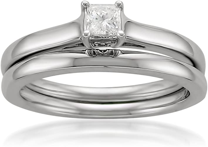 Amazon Com 14k White Gold Princess Cut Solitaire Diamond Bridal