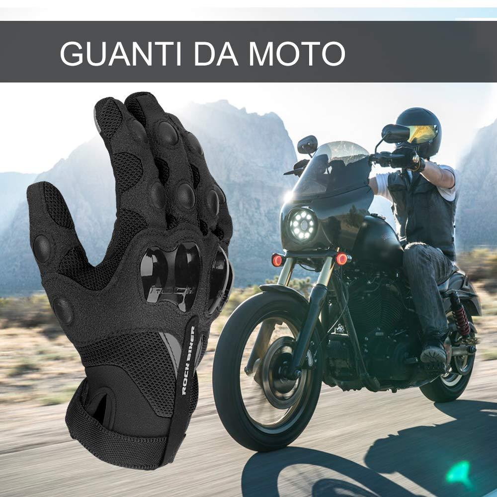 Guanti Moto Touchscreen Guanti da Moto Estivi Uomo Donna Hard Knuckle Protettivo con Fori Traspiranti per Moto Motocicletta ATV Motocross Ciclismo Guanti per Moto Antiscivolo XL