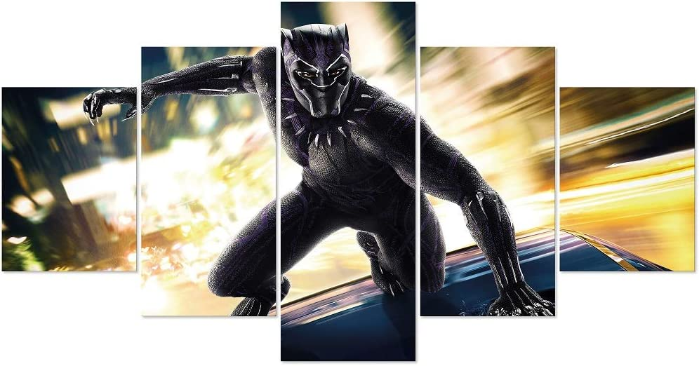 MoYisten Black Panther Poster Unframed 5 Panels Marvel Movie Super Hero Canvas Painting for Boy's Bedroom Living Room Home Wall Decor