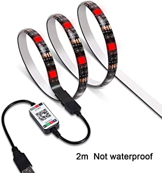 TV Fondo con un Adhesivo Cinta, Wifi Inalámbrico Smart Phone Controlado Varios Colores LED Tira Luces Kit 5050 RGB LED Tiras, Funciona con Android y Ios Sistema - 2m non waterproof: Amazon.es: