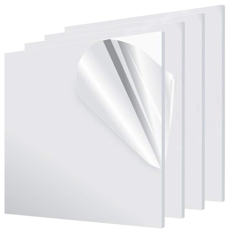 BOEEMI Polycarbonate Lexan Clear Plastic Sheet 1//8 x 12 x 12 4 Pack