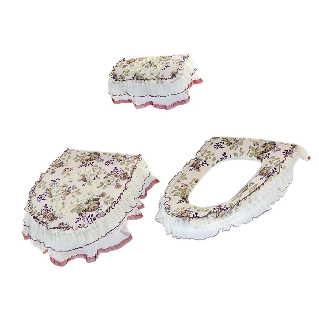 Dovewill Pack of 3 Floral Bathroom Lid Toilet Seat Cover Tank Lid Cover Bath Seat Mat Set - 6 by Dovewill