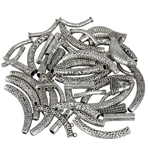 Jewelry Tube Spacer - SUNYIK Vintage Tibetan Silver Loose Curved Bars Tube Spacer Charms Connector Beads for Jewelry Making DIY 0.5lb (230 Grams)